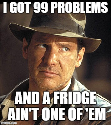 Indiana jones | I GOT 99 PROBLEMS AND A FRIDGE AIN'T ONE OF 'EM | image tagged in indiana jones | made w/ Imgflip meme maker