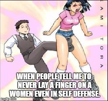 WHEN PEOPLE TELL ME TO NEVER LAY A FINGER ON A WOMEN EVEN IN SELF DEFENSE. | image tagged in cunt punt | made w/ Imgflip meme maker