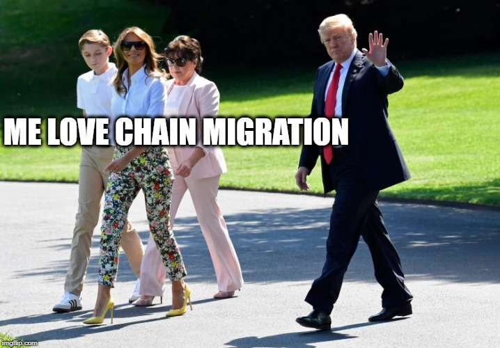 Hypocrite in white house | ME LOVE CHAIN MIGRATION | image tagged in memes,immigration,donald trump,sleazy | made w/ Imgflip meme maker
