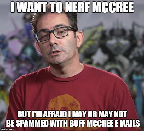 D.O..N.O.T...N.E.R.F...M.C.C.R.E.E | I WANT TO NERF MCCREE BUT I'M AFRAID I MAY OR MAY NOT BE SPAMMED WITH BUFF MCCREE E MAILS | image tagged in jeff kaplan mccree,overwatch,mccree,funny,memes | made w/ Imgflip meme maker