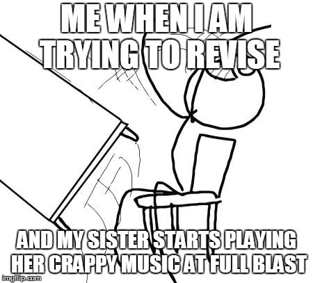 Table Flip Guy Meme | ME WHEN I AM TRYING TO REVISE AND MY SISTER STARTS PLAYING HER CRAPPY MUSIC AT FULL BLAST | image tagged in memes,table flip guy | made w/ Imgflip meme maker