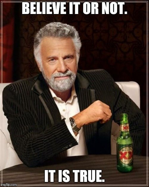 The Most Interesting Man In The World Meme | BELIEVE IT OR NOT. IT IS TRUE. | image tagged in memes,the most interesting man in the world | made w/ Imgflip meme maker