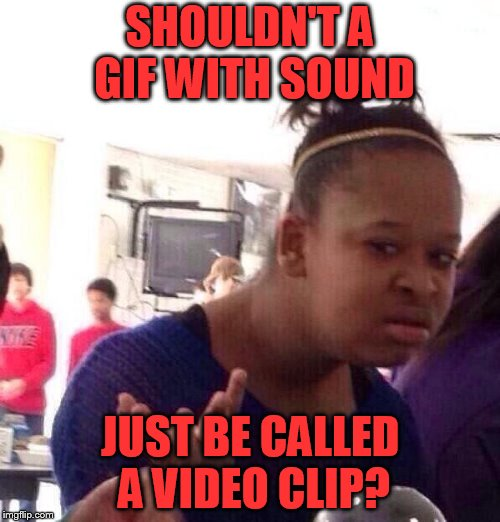 Black Girl Wat Meme | SHOULDN'T A GIF WITH SOUND JUST BE CALLED A VIDEO CLIP? | image tagged in memes,black girl wat | made w/ Imgflip meme maker