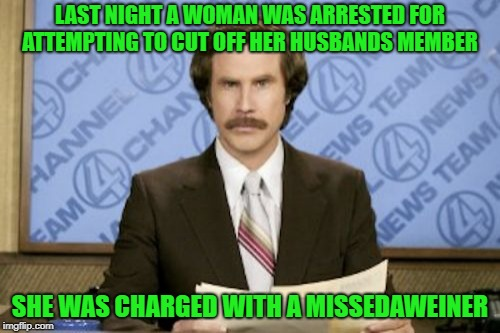 breaking news! |  LAST NIGHT A WOMAN WAS ARRESTED FOR ATTEMPTING TO CUT OFF HER HUSBANDS MEMBER; SHE WAS CHARGED WITH A MISSEDAWEINER | image tagged in memes,ron burgundy,pun,joke,funny | made w/ Imgflip meme maker