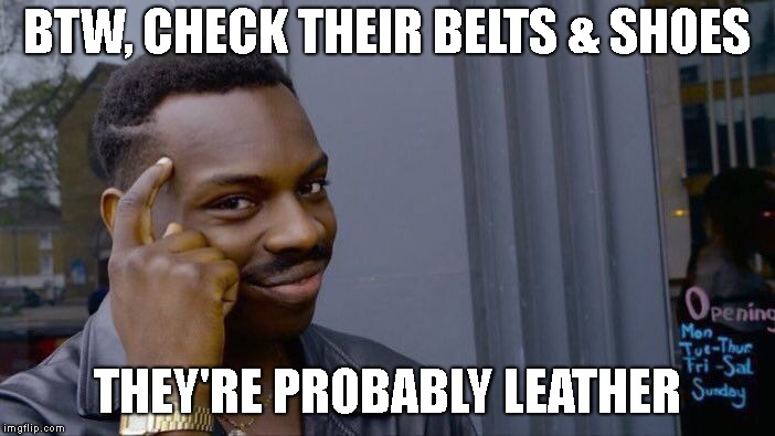 Roll Safe Think About It Meme | BTW, CHECK THEIR BELTS & SHOES THEY'RE PROBABLY LEATHER | image tagged in memes,roll safe think about it | made w/ Imgflip meme maker