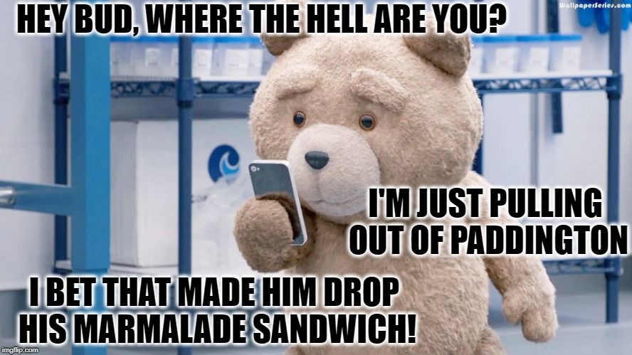 Ted on the Phone | HEY BUD, WHERE THE HELL ARE YOU? I'M JUST PULLING OUT OF PADDINGTON I BET THAT MADE HIM DROP HIS MARMALADE SANDWICH! | image tagged in ted phone,paddington,marmalade,funny memes,funny meme | made w/ Imgflip meme maker