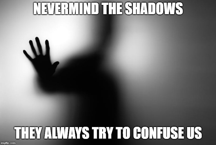 NEVERMIND THE SHADOWS THEY ALWAYS TRY TO CONFUSE US | image tagged in shadows,faith | made w/ Imgflip meme maker