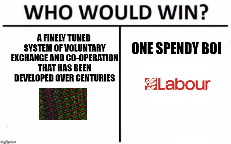 Who Would Win? | A FINELY TUNED SYSTEM OF VOLUNTARY EXCHANGE AND CO-OPERATION THAT HAS BEEN DEVELOPED OVER CENTURIES ONE SPENDY BOI | image tagged in memes,who would win | made w/ Imgflip meme maker