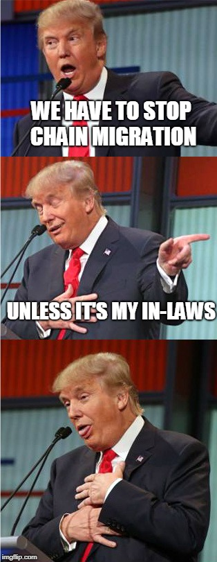 Bad Pun Trump | WE HAVE TO STOP CHAIN MIGRATION UNLESS IT'S MY IN-LAWS | image tagged in bad pun trump | made w/ Imgflip meme maker