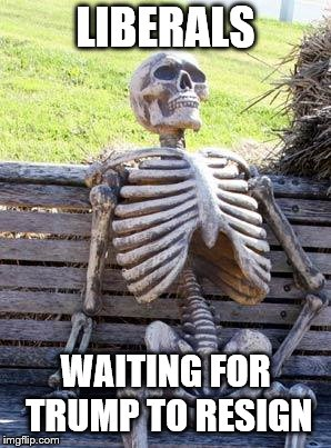 Waiting Skeleton Meme | LIBERALS WAITING FOR TRUMP TO RESIGN | image tagged in memes,waiting skeleton | made w/ Imgflip meme maker