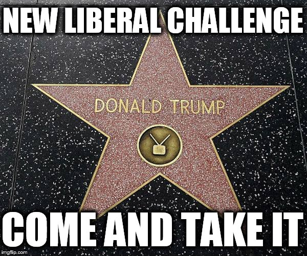 NEW LIBERAL CHALLENGE COME AND TAKE IT | image tagged in trump star hollywood,maga,liberalism is a mental disorder,just walk away | made w/ Imgflip meme maker