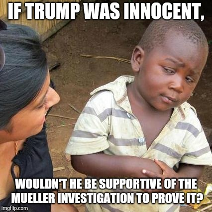 Good Point... | IF TRUMP WAS INNOCENT, WOULDN'T HE BE SUPPORTIVE OF THE MUELLER INVESTIGATION TO PROVE IT? | image tagged in memes,third world skeptical kid,robert mueller,donald trump,innocent,trump russia collusion | made w/ Imgflip meme maker