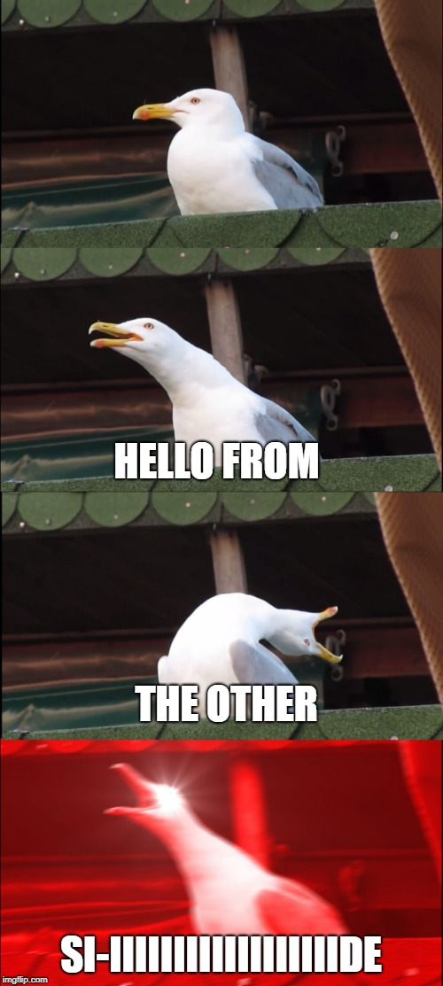 HELLO FROM SI-IIIIIIIIIIIIIIIIIIDE THE OTHER | made w/ Imgflip meme maker