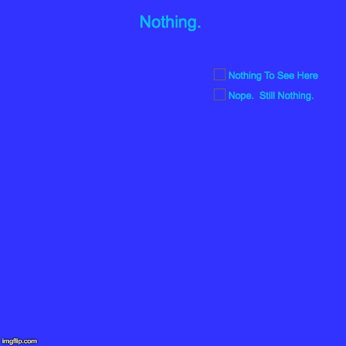 Nothing. | Nothing. | Nope.  Still Nothing., Nothing To See Here | image tagged in funny,pie charts | made w/ Imgflip pie chart maker