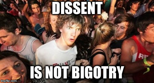 Sudden Clarity Clarence | DISSENT IS NOT BIGOTRY | image tagged in memes,sudden clarity clarence | made w/ Imgflip meme maker