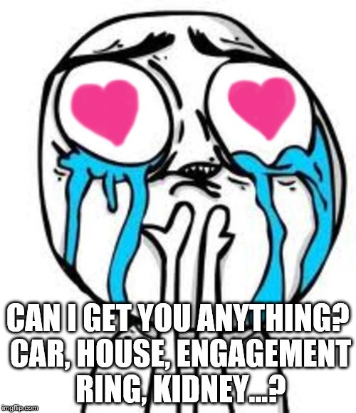 Heart eyes | CAN I GET YOU ANYTHING? CAR, HOUSE, ENGAGEMENT RING, KIDNEY...? | image tagged in heart eyes | made w/ Imgflip meme maker