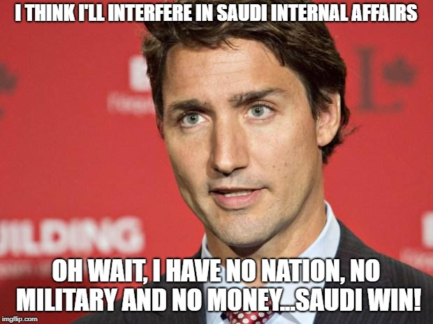 Justin forgot to pick a fight he can win. | I THINK I'LL INTERFERE IN SAUDI INTERNAL AFFAIRS OH WAIT, I HAVE NO NATION, NO MILITARY AND NO MONEY...SAUDI WIN! | image tagged in justin trudeau,liberalism is a mental disorder,saudi arabia,stupid liberals | made w/ Imgflip meme maker