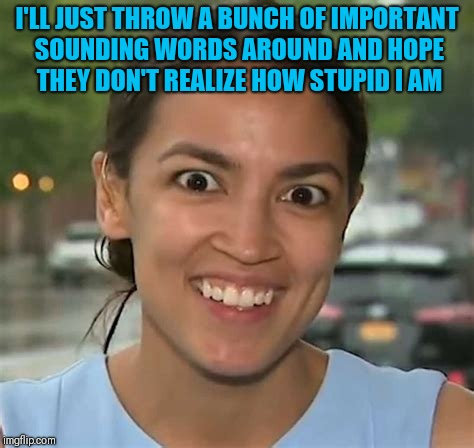 Alexandria Ocasio-Cortez | I'LL JUST THROW A BUNCH OF IMPORTANT SOUNDING WORDS AROUND AND HOPE THEY DON'T REALIZE HOW STUPID I AM | image tagged in alexandria ocasio-cortez | made w/ Imgflip meme maker