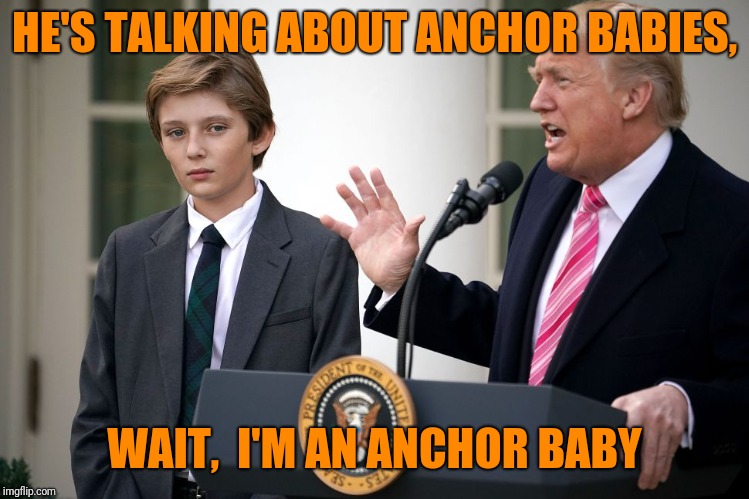 HE'S TALKING ABOUT ANCHOR BABIES, WAIT,  I'M AN ANCHOR BABY | made w/ Imgflip meme maker