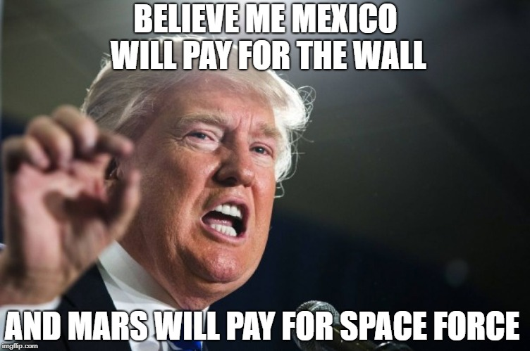 donald trump | BELIEVE ME MEXICO WILL PAY FOR THE WALL AND MARS WILL PAY FOR SPACE FORCE | image tagged in donald trump | made w/ Imgflip meme maker