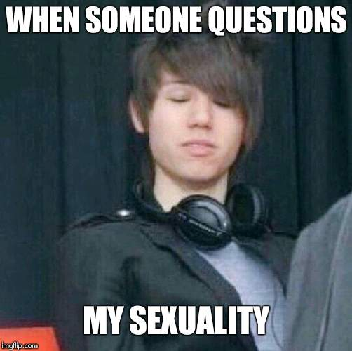 Im straight,......... just wanted to make this meme......... Please dont hurt me....... Plus this isnt even that funny | WHEN SOMEONE QUESTIONS MY SEXUALITY | image tagged in ryan ross | made w/ Imgflip meme maker
