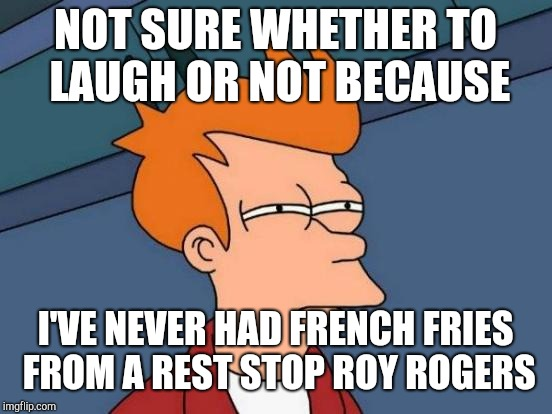 Futurama Fry Meme | NOT SURE WHETHER TO LAUGH OR NOT BECAUSE I'VE NEVER HAD FRENCH FRIES FROM A REST STOP ROY ROGERS | image tagged in memes,futurama fry | made w/ Imgflip meme maker