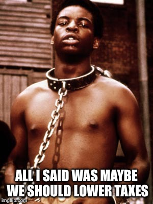 That's what happens when you try to escape the DNC thought plantation  |  ALL I SAID WAS MAYBE WE SHOULD LOWER TAXES | image tagged in kunta kinte,liberal hypocrisy,freedom,funny memes,dnc | made w/ Imgflip meme maker