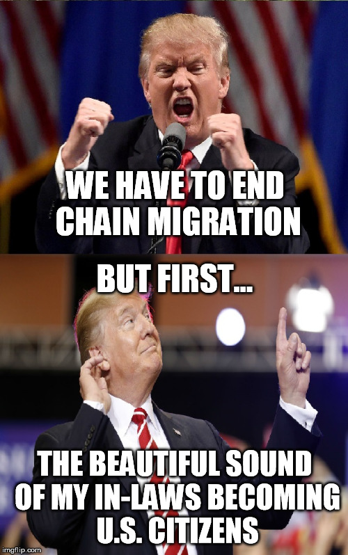 The Irony Is Not Lost On Me | WE HAVE TO END CHAIN MIGRATION BUT FIRST... THE BEAUTIFUL SOUND OF MY IN-LAWS BECOMING U.S. CITIZENS | image tagged in trump,irony | made w/ Imgflip meme maker
