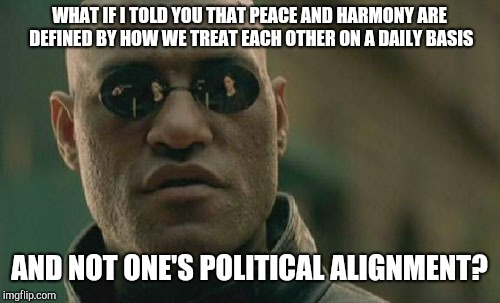 News Flash | WHAT IF I TOLD YOU THAT PEACE AND HARMONY ARE DEFINED BY HOW WE TREAT EACH OTHER ON A DAILY BASIS AND NOT ONE'S POLITICAL ALIGNMENT? | image tagged in memes,matrix morpheus,politics,harmony,united states,pepperidge farm remembers | made w/ Imgflip meme maker