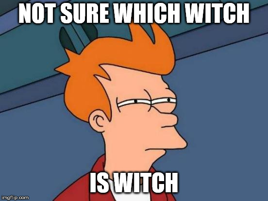 Futurama Fry Meme | NOT SURE WHICH WITCH IS WITCH | image tagged in memes,futurama fry | made w/ Imgflip meme maker