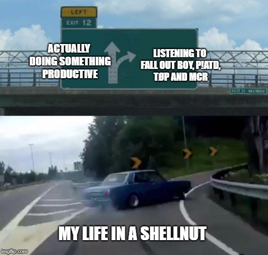 Left Exit 12 Off Ramp Meme | ACTUALLY DOING SOMETHING PRODUCTIVE LISTENING TO FALL OUT BOY, P!ATD, TØP AND MCR MY LIFE IN A SHELLNUT | image tagged in memes,left exit 12 off ramp | made w/ Imgflip meme maker