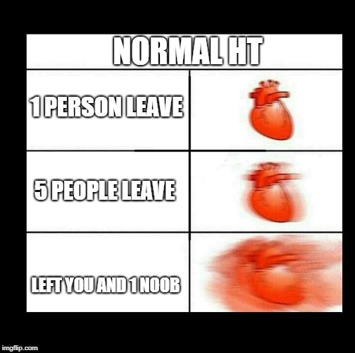 heart beating faster | NORMAL HT LEFT YOU AND 1 NOOB 1 PERSON LEAVE 5 PEOPLE LEAVE | image tagged in heart beating faster | made w/ Imgflip meme maker