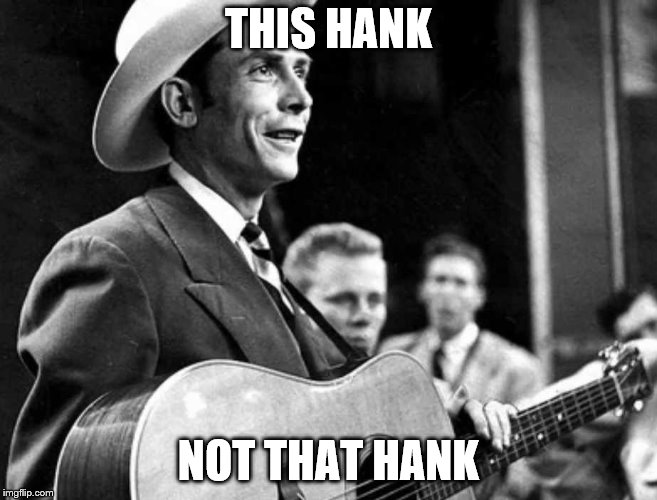 hank williams | THIS HANK NOT THAT HANK | image tagged in hank williams | made w/ Imgflip meme maker