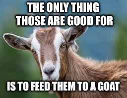 THE ONLY THING THOSE ARE GOOD FOR IS TO FEED THEM TO A GOAT | made w/ Imgflip meme maker