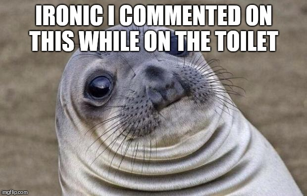 Awkward Moment Sealion Meme | IRONIC I COMMENTED ON THIS WHILE ON THE TOILET | image tagged in memes,awkward moment sealion | made w/ Imgflip meme maker