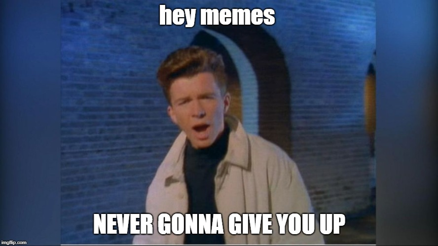 hey memes NEVER GONNA GIVE YOU UP | image tagged in rick astley | made w/ Imgflip meme maker
