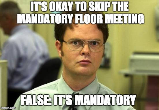 Dwight Schrute | IT'S OKAY TO SKIP THE MANDATORY FLOOR MEETING FALSE: IT'S MANDATORY | image tagged in memes,dwight schrute | made w/ Imgflip meme maker