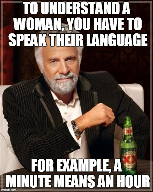 Breaking The Code | TO UNDERSTAND A WOMAN, YOU HAVE TO SPEAK THEIR LANGUAGE FOR EXAMPLE, A MINUTE MEANS AN HOUR | image tagged in memes,the most interesting man in the world,funny,women,language,codes | made w/ Imgflip meme maker