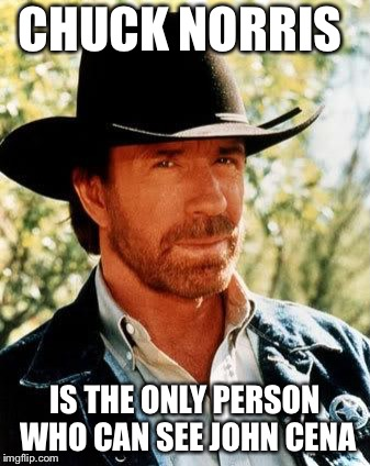Chuck Norris | CHUCK NORRIS IS THE ONLY PERSON WHO CAN SEE JOHN CENA | image tagged in memes,chuck norris | made w/ Imgflip meme maker