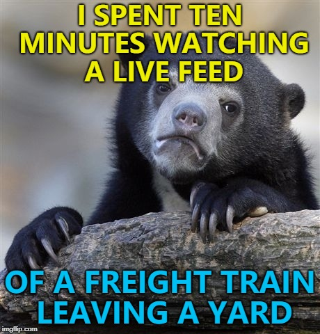 It was recommended - honest :)  | I SPENT TEN MINUTES WATCHING A LIVE FEED OF A FREIGHT TRAIN LEAVING A YARD | image tagged in memes,confession bear,trains,youtube,live feed | made w/ Imgflip meme maker