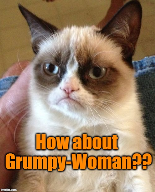 Grumpy Cat Meme | How about Grumpy-Woman?? | image tagged in memes,grumpy cat | made w/ Imgflip meme maker