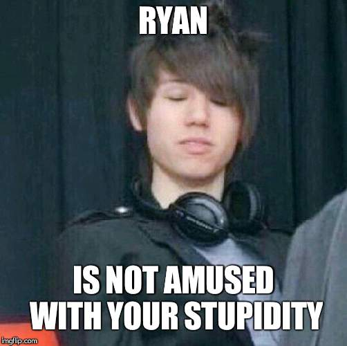 I know this is off topic,but do u guys have any cheez whiz? | RYAN IS NOT AMUSED WITH YOUR STUPIDITY | image tagged in ryan ross | made w/ Imgflip meme maker