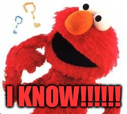 Elmo Questions | I KNOW!!!!!! | image tagged in elmo questions | made w/ Imgflip meme maker