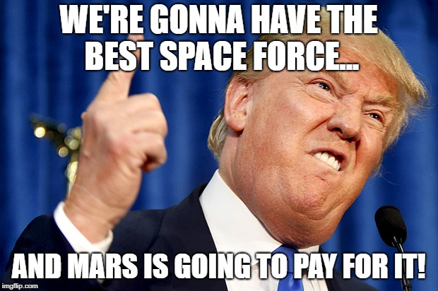 Donald Trump | WE'RE GONNA HAVE THE BEST SPACE FORCE... AND MARS IS GOING TO PAY FOR IT! | image tagged in donald trump | made w/ Imgflip meme maker