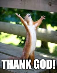 Praise Squirrel | THANK GOD! | image tagged in praise squirrel | made w/ Imgflip meme maker