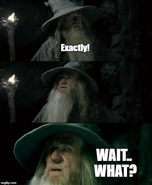 Confused Gandalf Meme | Exactly! WAIT.. WHAT? | image tagged in memes,confused gandalf | made w/ Imgflip meme maker