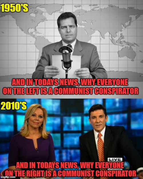AND IN TODAYS NEWS, WHY EVERYONE ON THE LEFT IS A COMMUNIST CONSPIRATOR AND IN TODAYS NEWS, WHY EVERYONE ON THE RIGHT IS A COMMUNIST CONSPIR | made w/ Imgflip meme maker