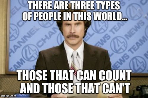 Ron Burgundy | THERE ARE THREE TYPES OF PEOPLE IN THIS WORLD... THOSE THAT CAN COUNT AND THOSE THAT CAN'T | image tagged in memes,ron burgundy | made w/ Imgflip meme maker