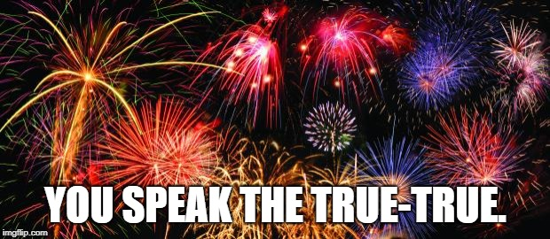 Colorful Fireworks | YOU SPEAK THE TRUE-TRUE. | image tagged in colorful fireworks | made w/ Imgflip meme maker