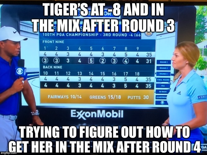 Tiger woods is back baby! | TIGER'S AT -8 AND IN THE MIX AFTER ROUND 3 TRYING TO FIGURE OUT HOW TO GET HER IN THE MIX AFTER ROUND 4 | image tagged in tiger woods,funny memes,golf | made w/ Imgflip meme maker